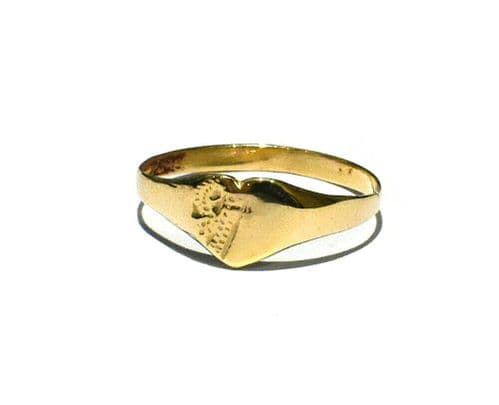 Baby Childs Heart Signet Ring Solid 9ct Yellow Gold Size B-G Handmade